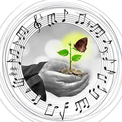 Hands holding coins and a seedling with butterfly, encircled by music